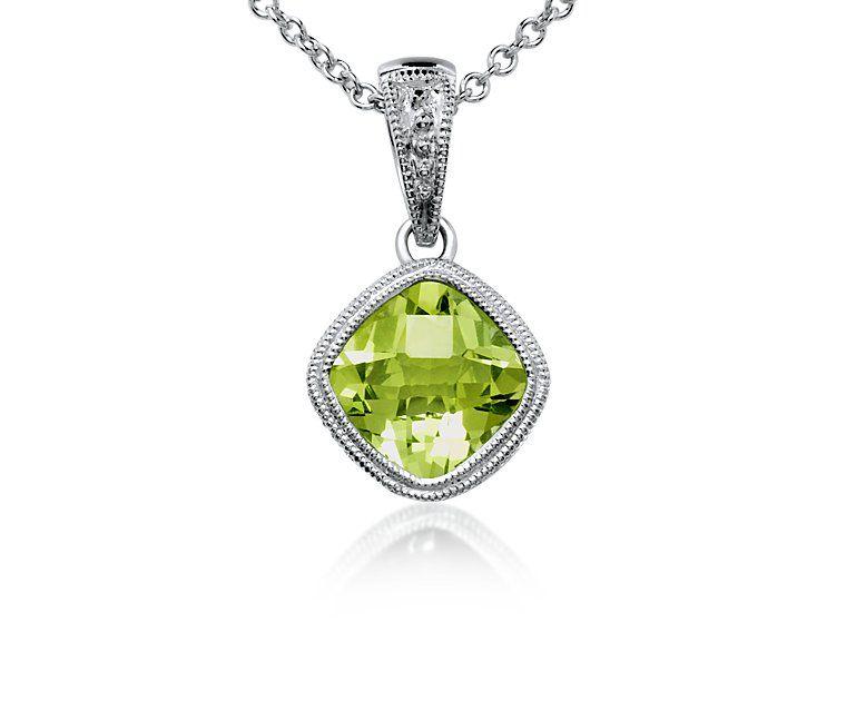 Peridot pendant in 18 k white gold $530