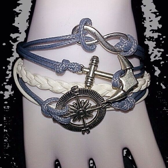 ⚓️⚓️Boat Lovers Bracelet⚓️⚓️ ⚓️⚓️‼️$5 with purchase of $15 or more‼️⚓️⚓️ Blue grey and white with an anchor, nautical compass and infinity charms⚓️⚓️ Jewelry Bracelets