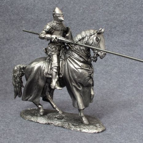 Vintage :: Vintage Collectibles :: Vintage Games & DIY Kits :: TOY SOLDIER metal miniature figure. 54mm collection. Medieval Horseback Knight with lance. 1/32 scale. Mounted Cavalry sculpture. 6010AZ - Lavky.com