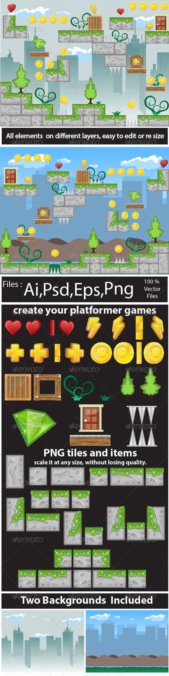 Game Tile Set Ornaments 2d, adventure, android, animation