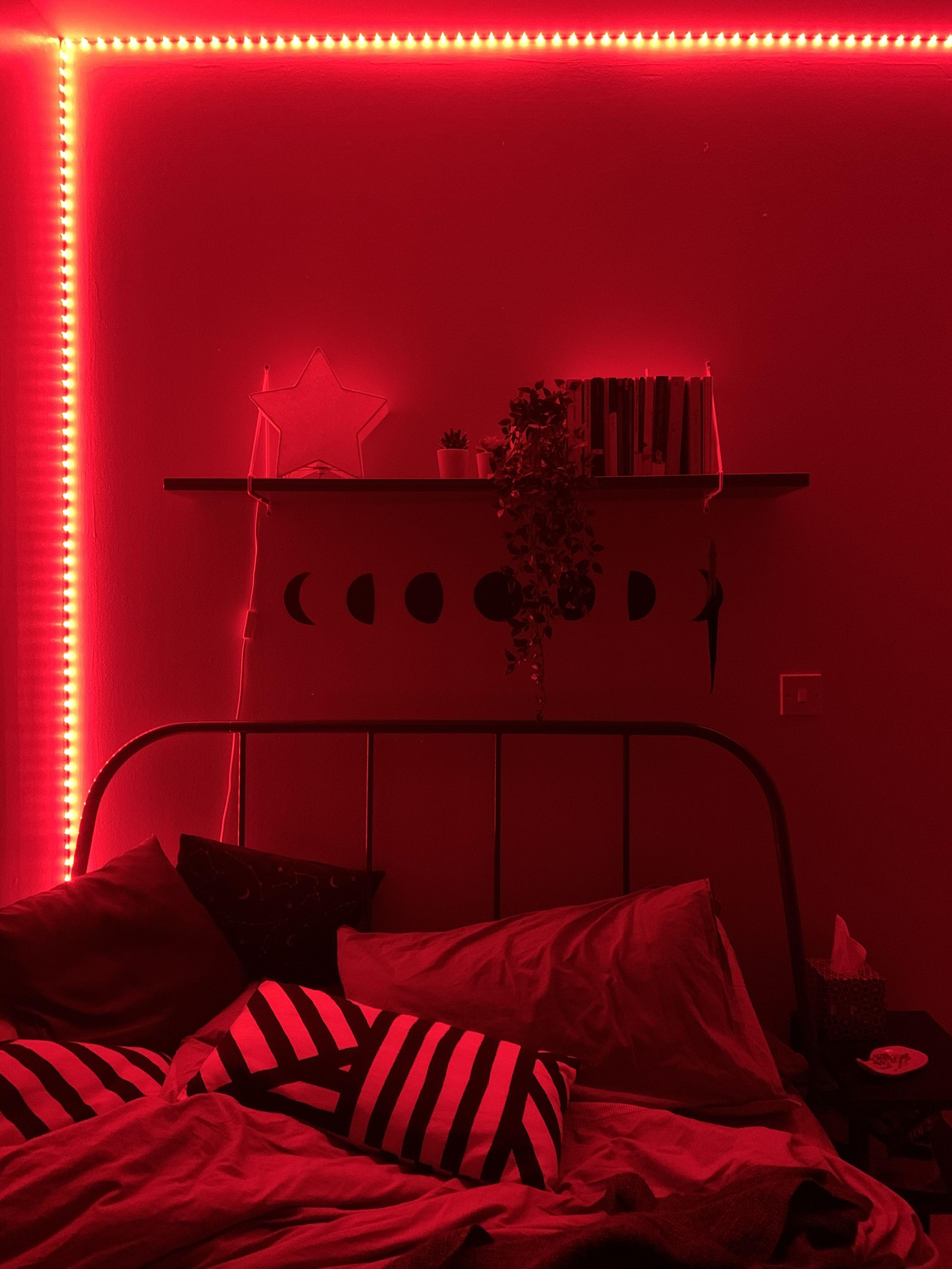 Neon Bedroom In 2020 Red Lights Bedroom Neon Bedroom Bedroom Decor Design