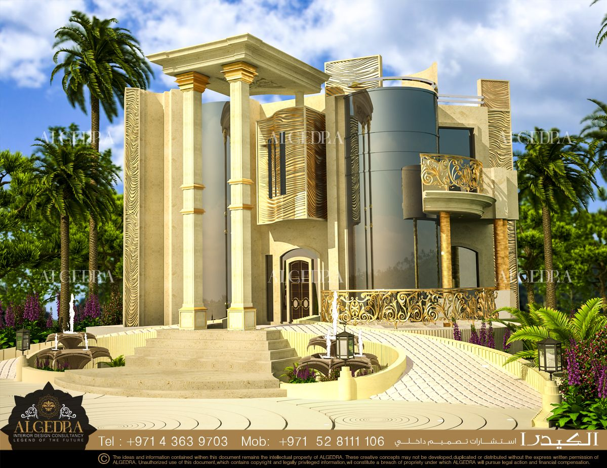 Villa exterior design abu dhabi algedra interior design for Modern house uae