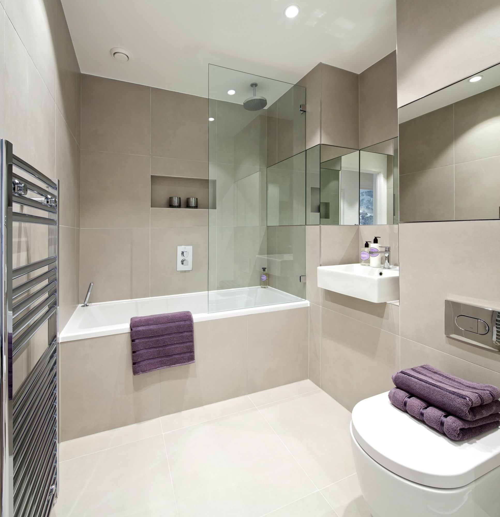 Inside homes bathrooms - Bathroom Best Colors For Apartment Bathroom Design Another Stunning Design Interior Bathroom Modern Apartment Bathtub Water Closet Puple Towel Also Glass