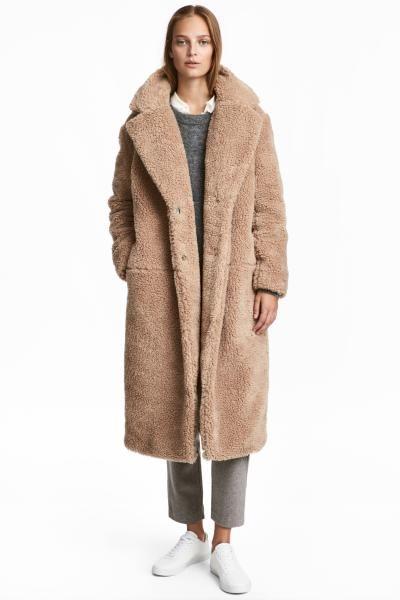 Langer Mantel Aus Teddyfleece Outfits Herbstwinter Pinterest