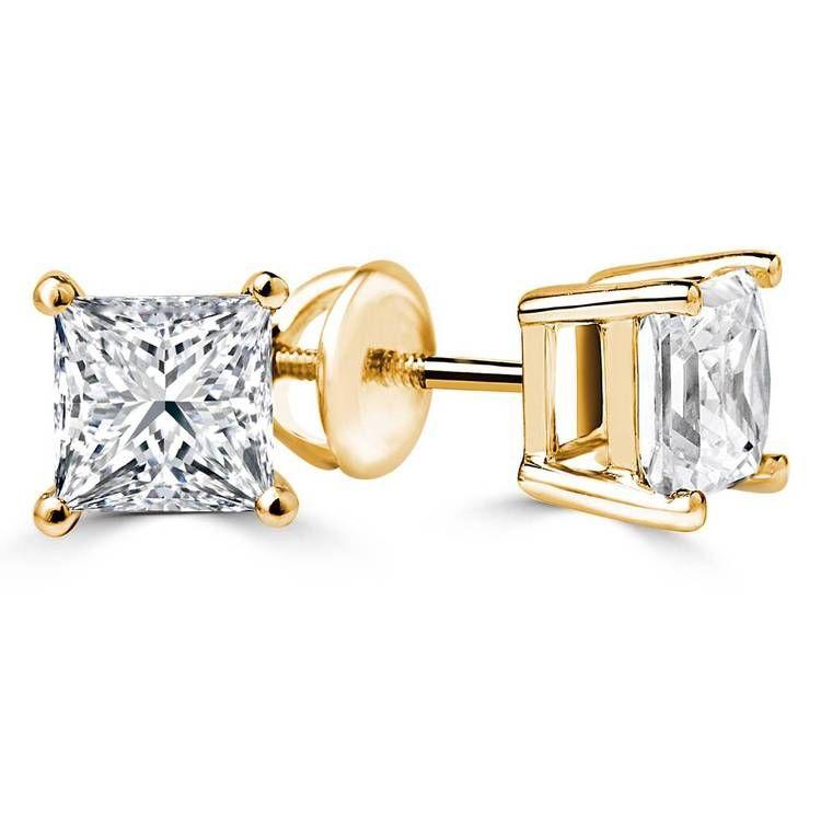majesty diamonds princess cut diamond stud earrings in. Black Bedroom Furniture Sets. Home Design Ideas