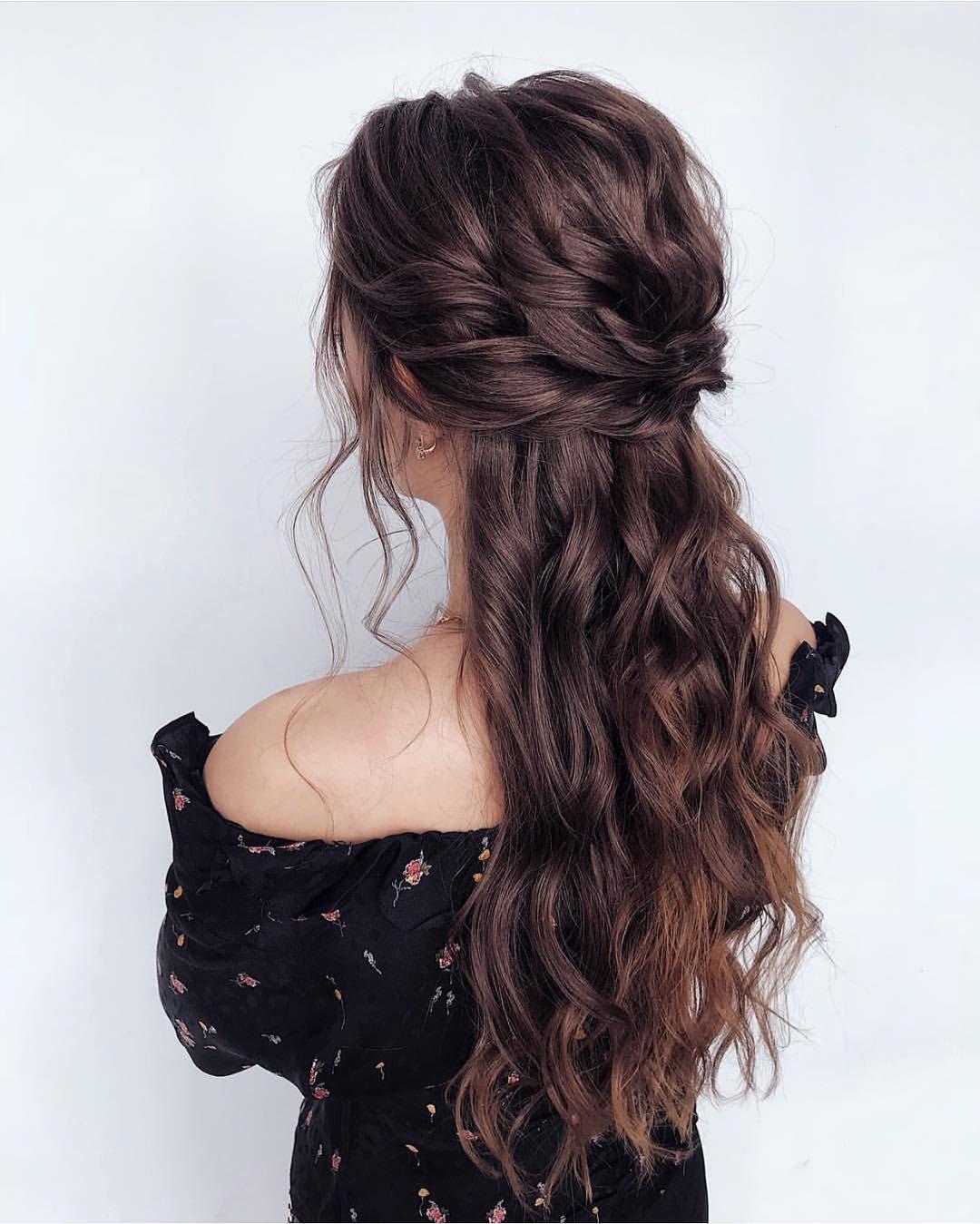 39 Gorgeous Half Up Half Down Hairstyles Wedding Hair Brunette Wedding Hair Half Hair Styles