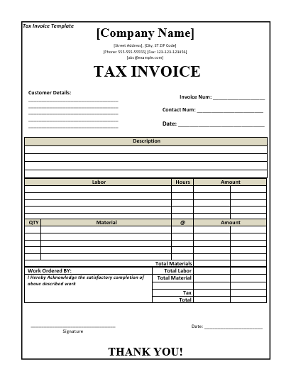 TaxInvoiceTemplate  Wordstemplates    Template