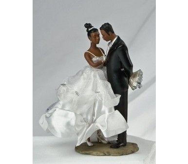 Ty Wilson African American Bride And Groom Wedding Cake Topper Figurine