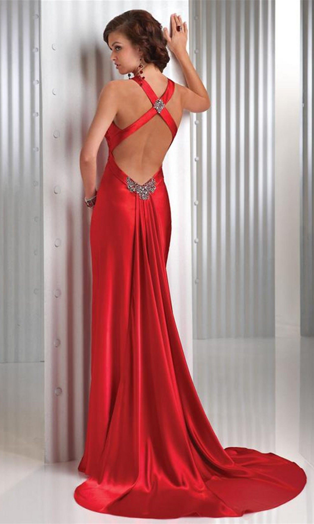 High Quality Sexy Red V Neck Floor Length Evening Gown Evening Dress Prom Dress 1