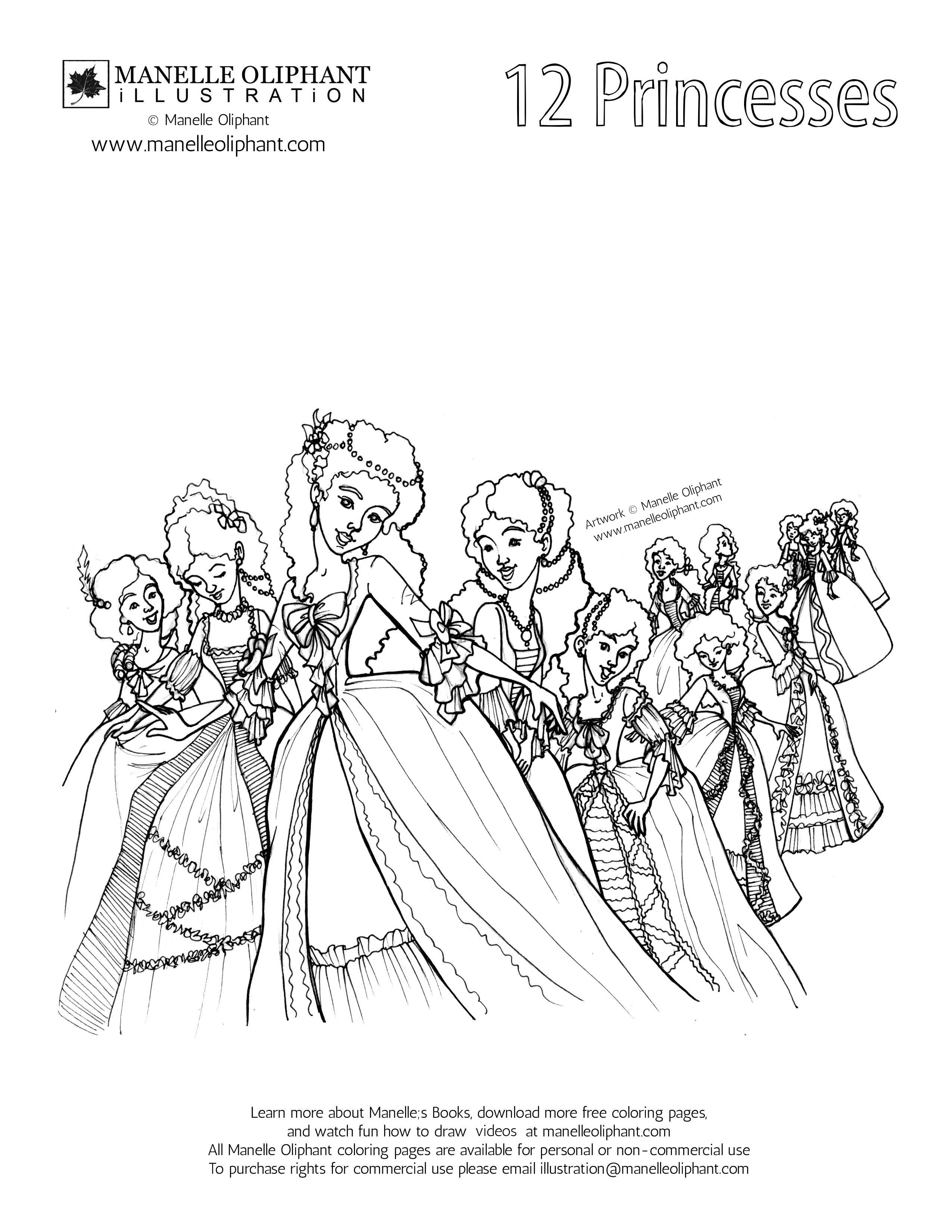 Free Coloringpage Download And Color It Princess Coloring Pages Princess Coloring 12 Dancing Princesses