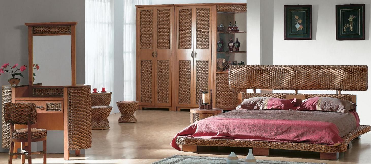 Amazing Brown Rattan Wicker Bedroom Furniture Set With Grey Pink Bedding  And Rectangular Mirror U2013 FNW