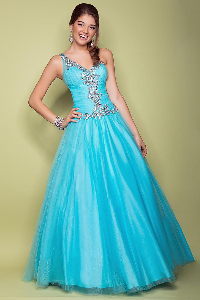 A Line Beading Tulle Blue Prom Dress | Prom Dresses | Pinterest ...