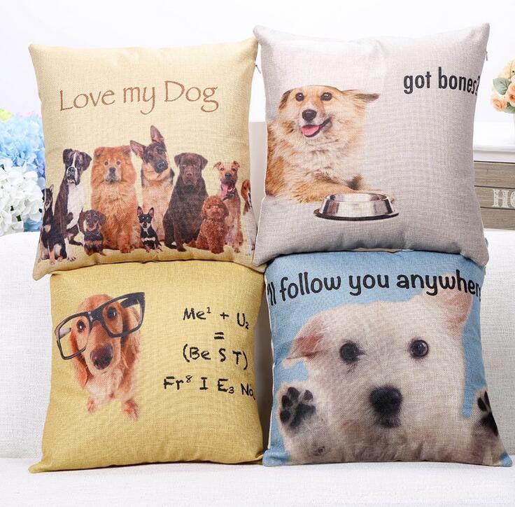 Cute Dogs Home Decor Linen Cotton Cushion Cover Throw Pillow Case 45x45cm
