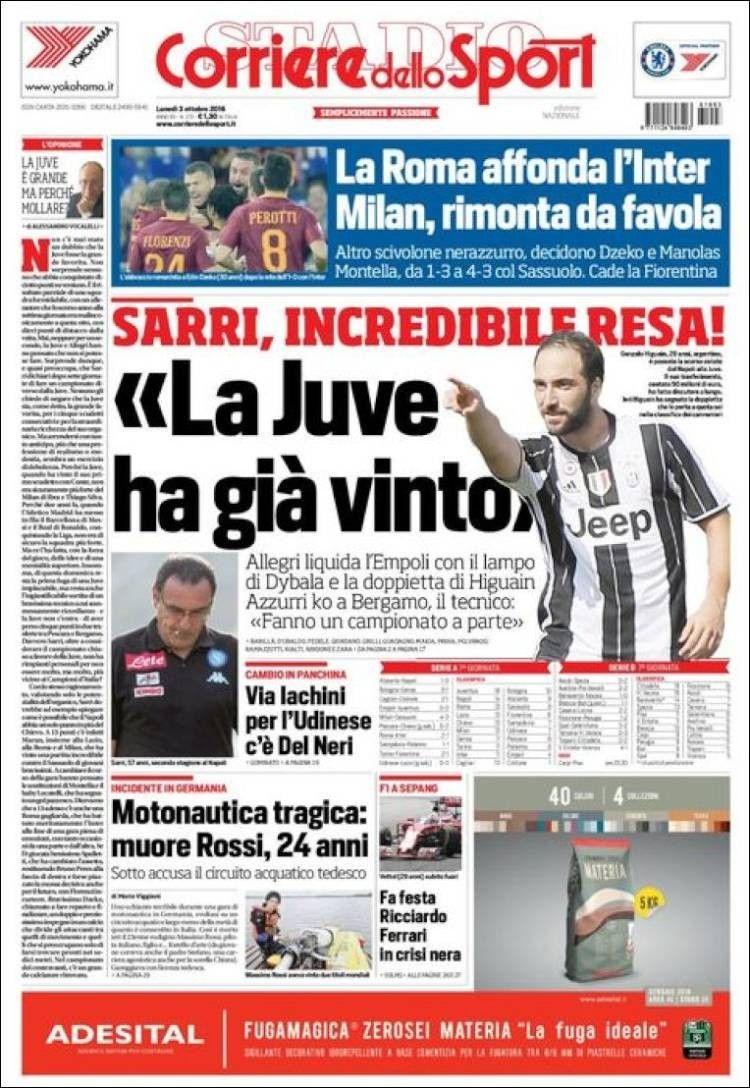 Corriere dello Sport (3 de octubre de 2016) Juve