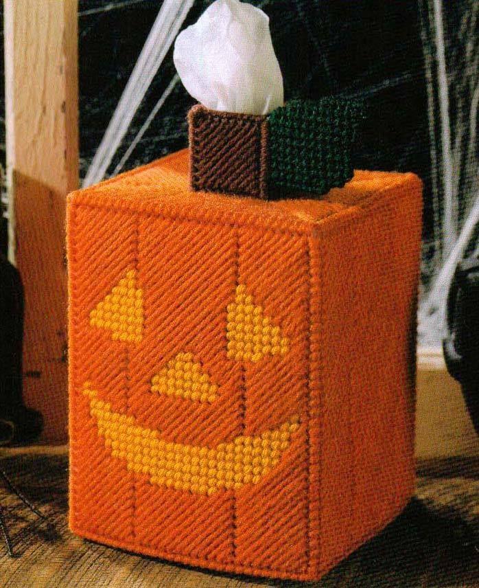 JACK-O-LANTERN TISSUE BOX COVER PUMPKIN PLASTIC CANVAS PATTERN INSTRUCTIONS…