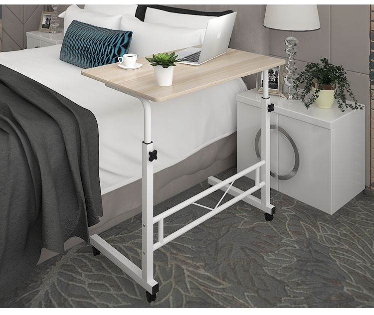 Adjustable Portable Sofa Bed Side Table Laptop Desk With Wheels White Frame Sofa Bed Home Office Chairs Desk