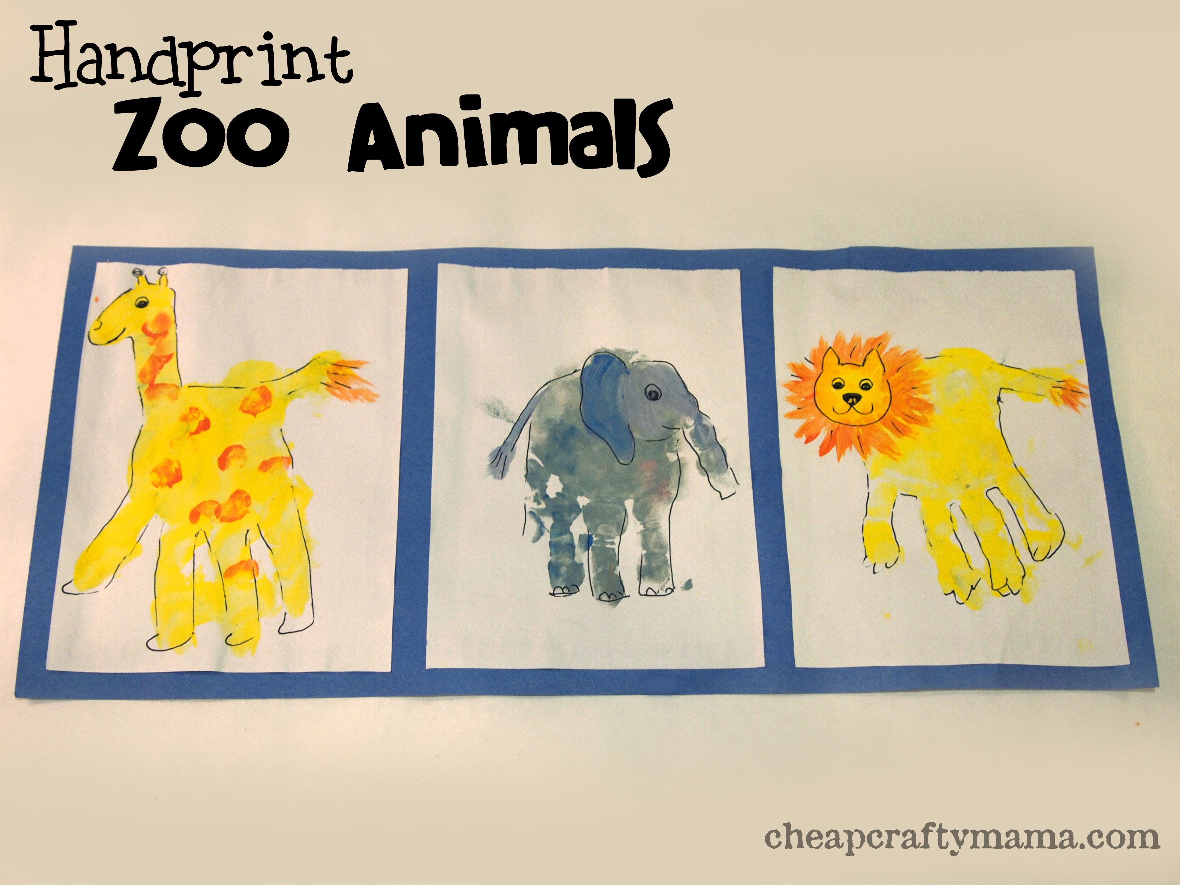 Handprint Zoo Animal Craft Adorable