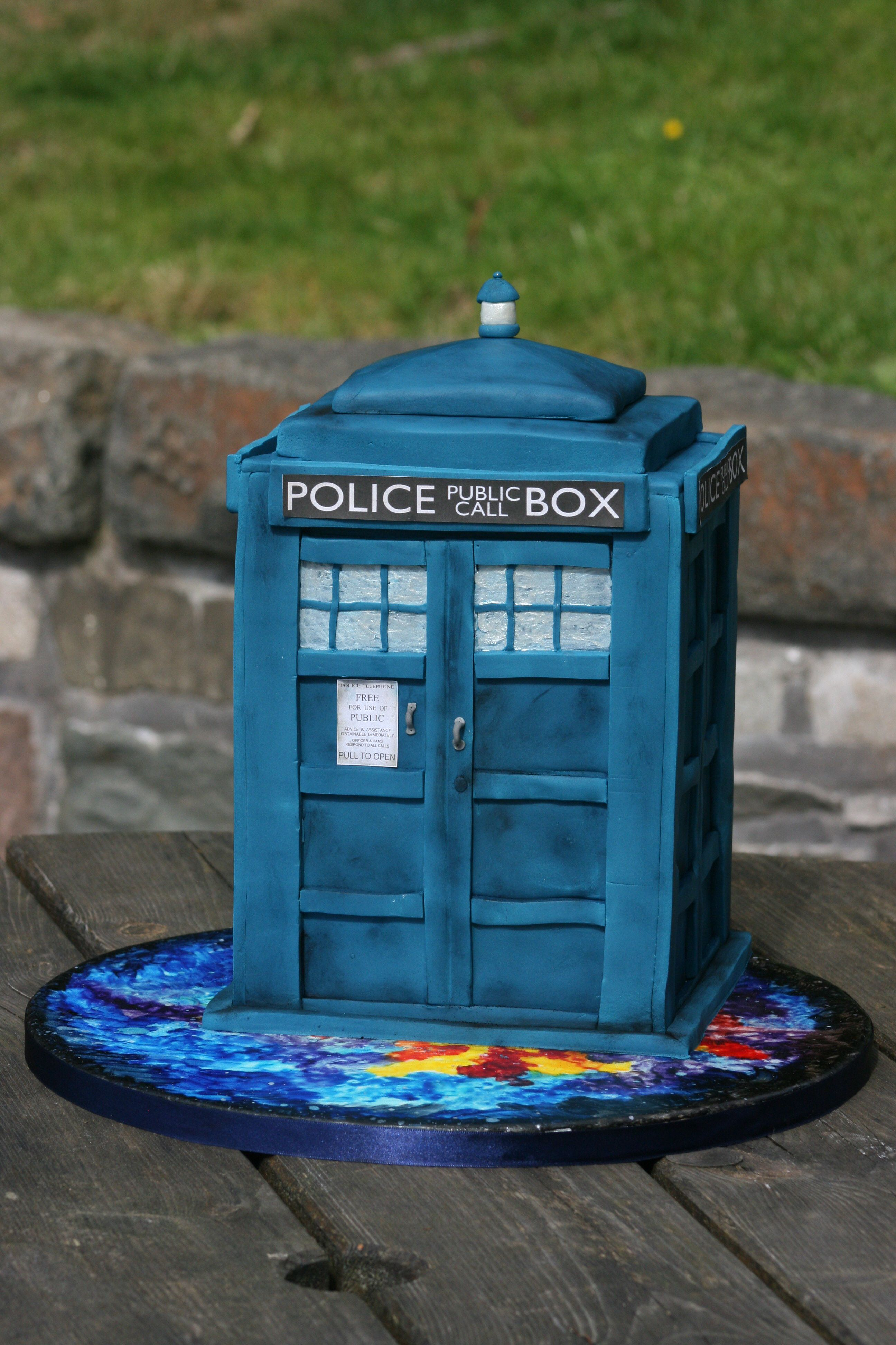 Cake: Dr Who TARDIS. This is based on David Tennant's (the tenth doctor's) TARDIS. There are significant design differences between each doctor's tardis.