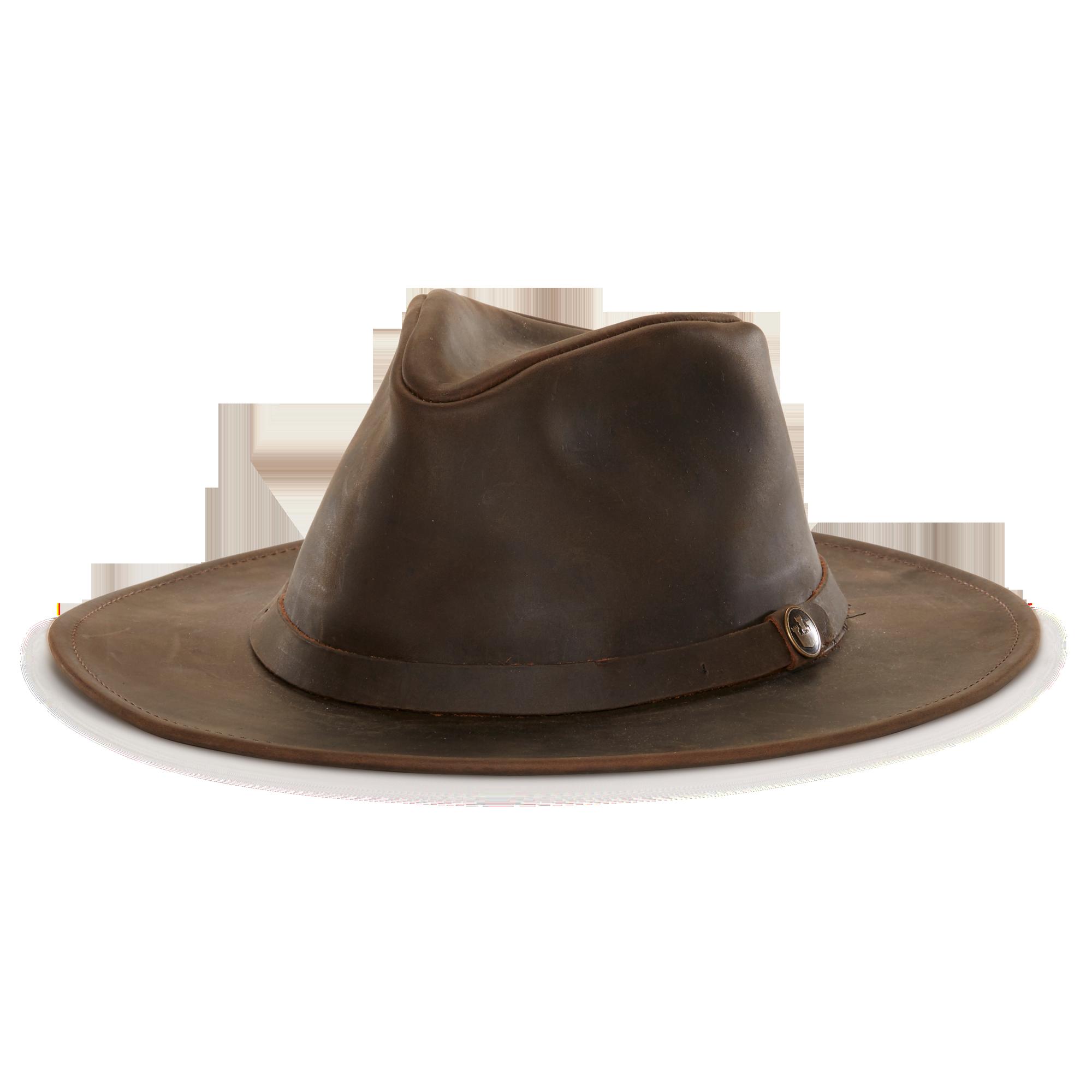 North Fork Leather Fedora Hat Brown Left Side  feba1447192