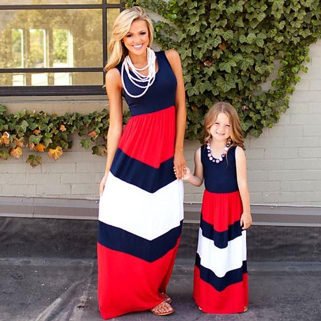 dbfab066ca21 Girls Mommy and Me Matching Chevron Print Maxi Dress (4 Color ...