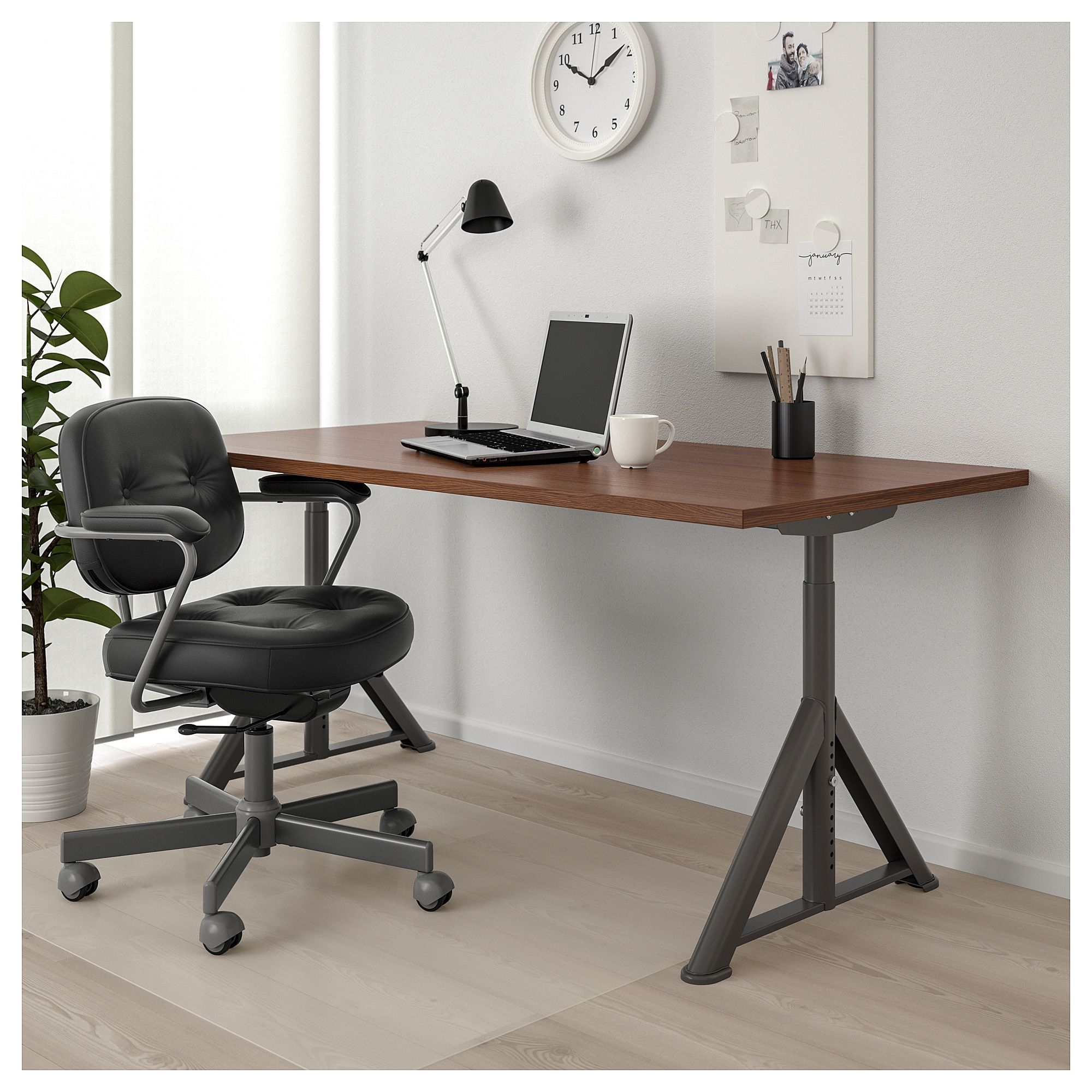 IKEA IDÅSEN Desk brown, dark gray (With images) Black