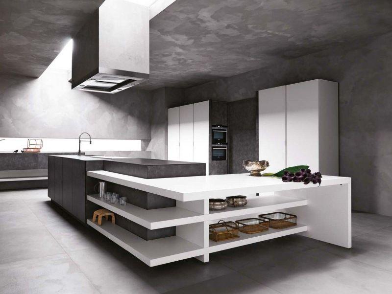 moderne minimalistische küchengestaltung aus beton und kunststoff, Kuchen