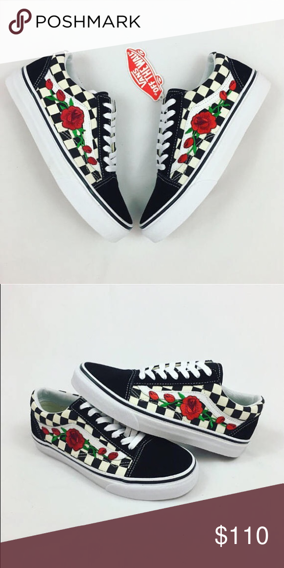 custom checkered old skool vans brand new custom checkered old skool vans  with rose embroidery! with box size 7.5 in men s and a 9 in women s Vans  Shoes ... 07cb4ff82