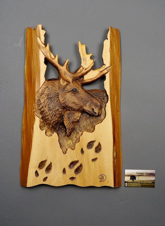 Moose carved on wood carving with bark hand made gift