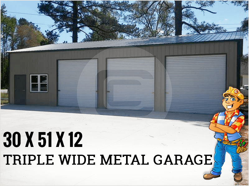 This Certified 30 X 51 X 12 Triple Wide Metal Garage Is Available At 15 280 Only Metal Shop Building Metal Garages Garage Shop Plans