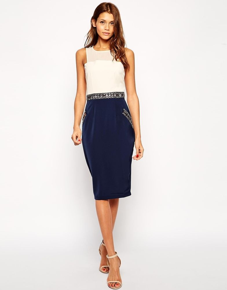 ASOS Little Mistress Midi Pencil Dress with Embellished Waist ...