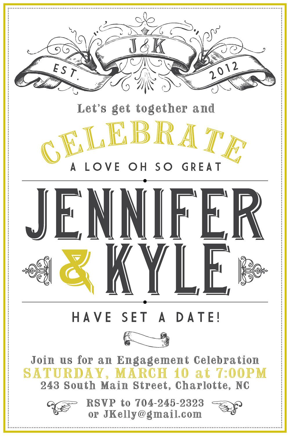 i like the wording; to announce our date; maybe put up on a ...