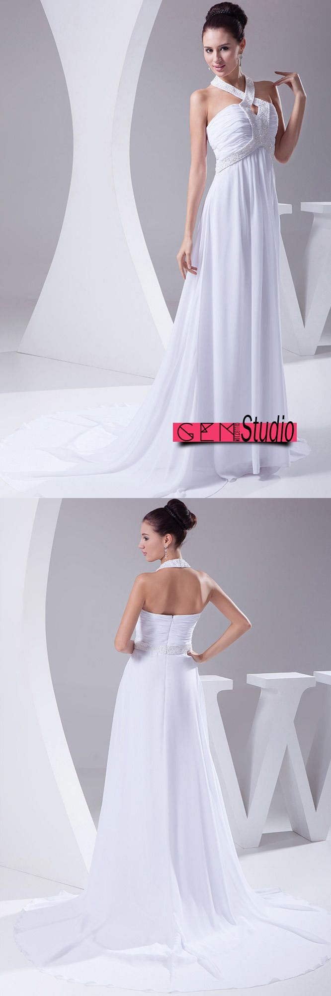Plain white long halter beading chiffon wedding dress with train