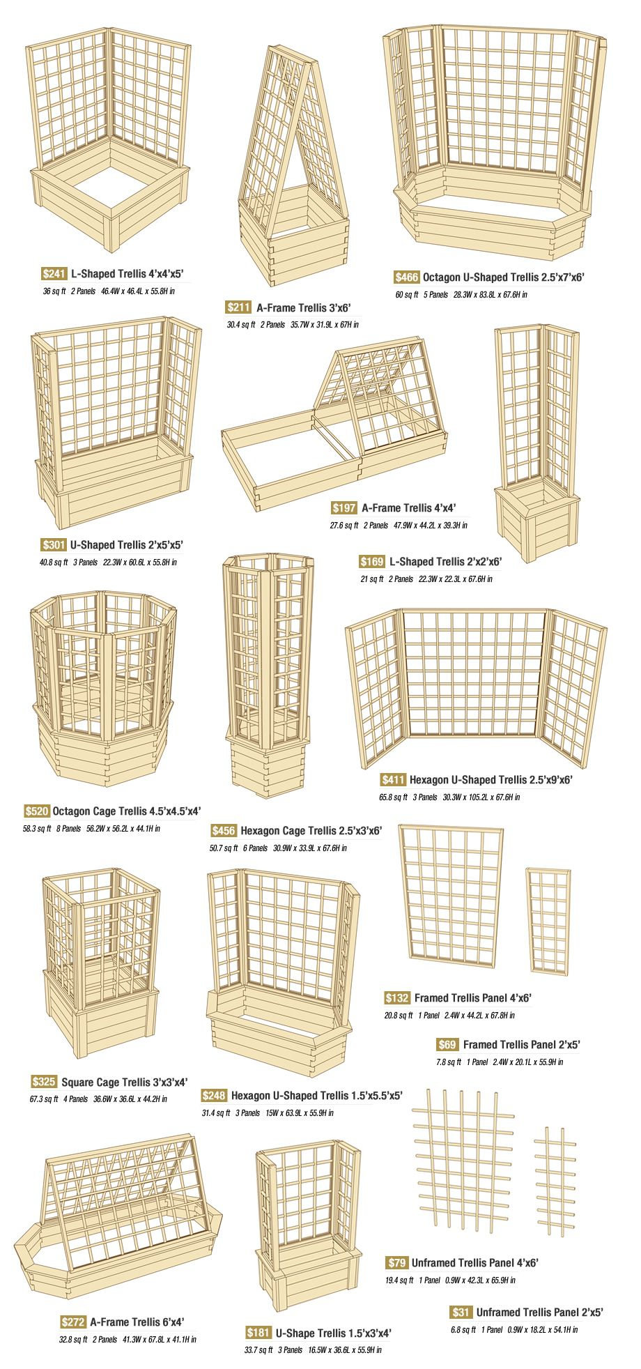 Trellises are available in many shapes and sizes