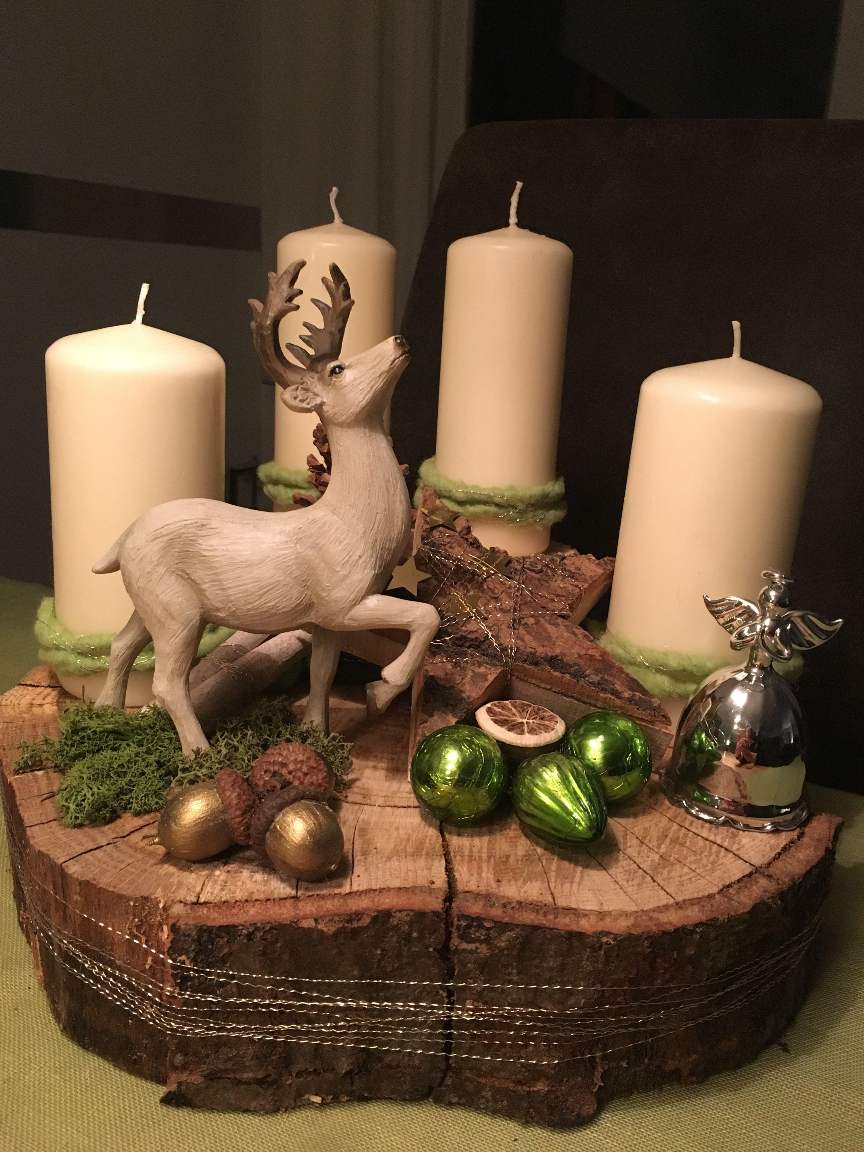 Navidad #baumscheibendekoweihnachten Navidad #adventskranzaufbaumscheibe