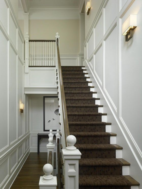 Traditional Staircase with Paneled Walls Hallway Staircase ...