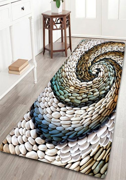 Bathroom flannel whirlwind pebbles printed skidproof rug home decor