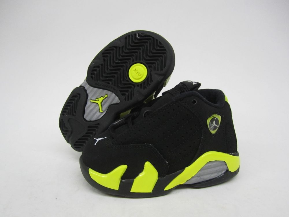 best loved 7d701 0dd97 TODDLERS AIR JORDAN RETRO 14 BLACK/YELLOW INFANT SIZE US 10 ...