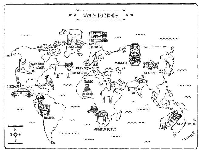 carte du monde coloriage La carte des Chats du monde à colorier, d'Emilie Lapeyre
