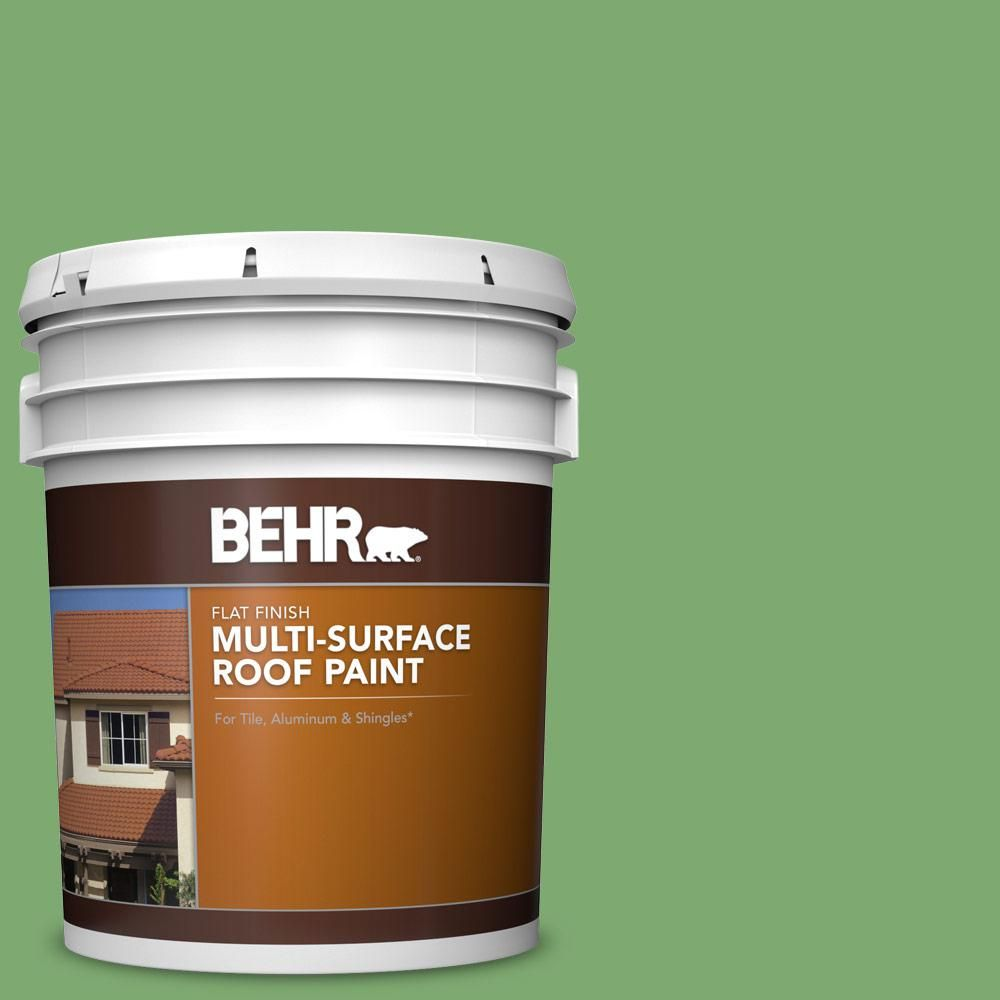 Behr 5 Gal M390 5 Sage Garden Flat Multi Surface Exterior Roof Paint Roof Paint Exterior Wood Stain Exterior Paint