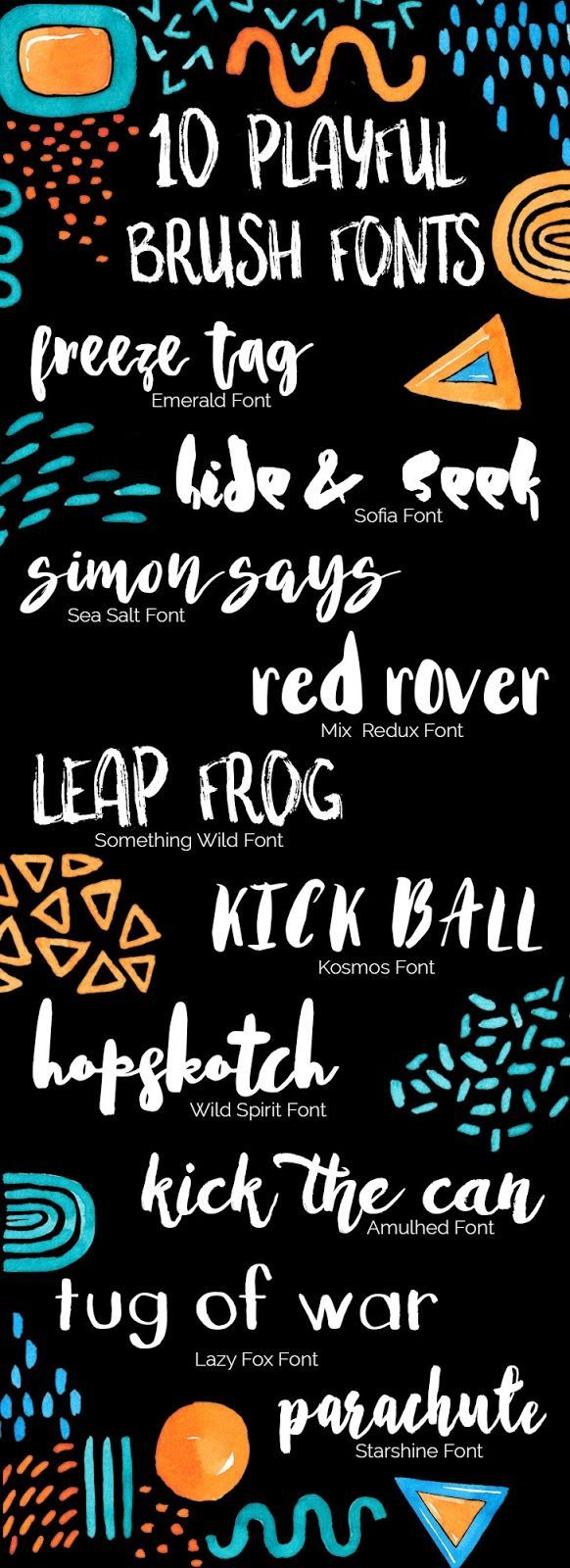 10 Playful Brush Fonts Lettering, Brush font, Fonts