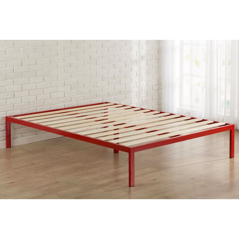 Queen Modern Red Metal Platform Bed Frame With Wooden Slats