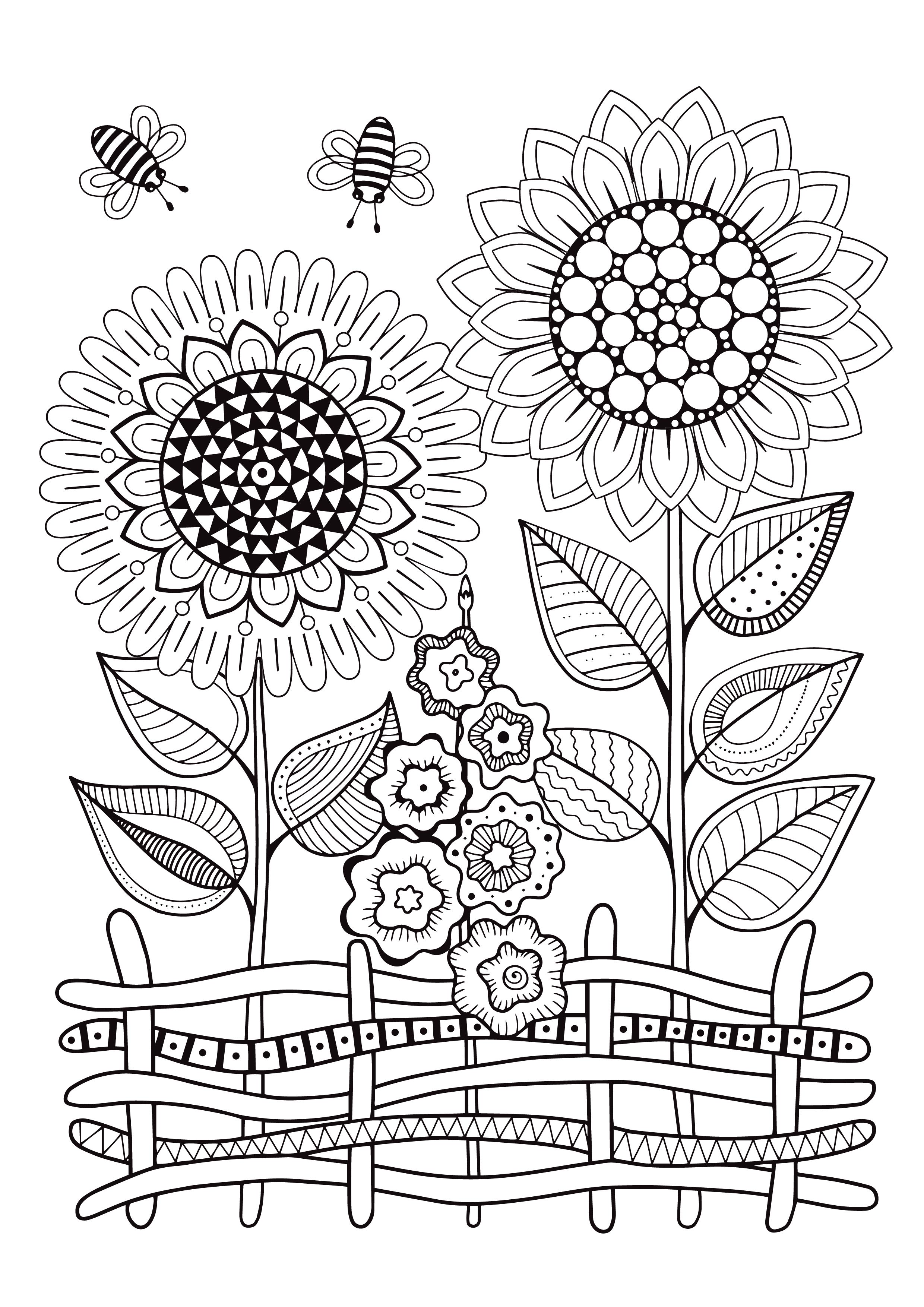 - Mindfulness Coloring Pages - 12 Flowers (With Images) Sunflower