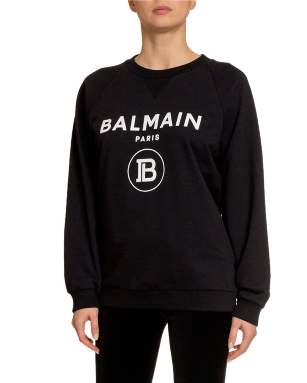 Balmain FlockedLogo Crewneck Sweatshirt and Matching
