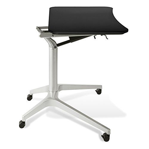 Jesper Office 201 BLK Workpad Height Adjustable Laptop Cart Mobile Desk,  With Black Top
