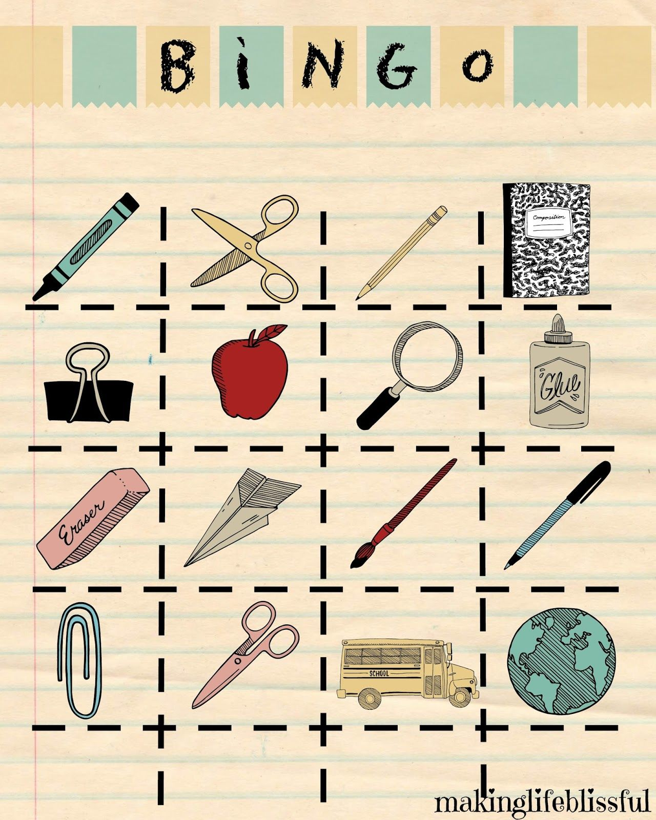 Printable Back To School Bingo Cards