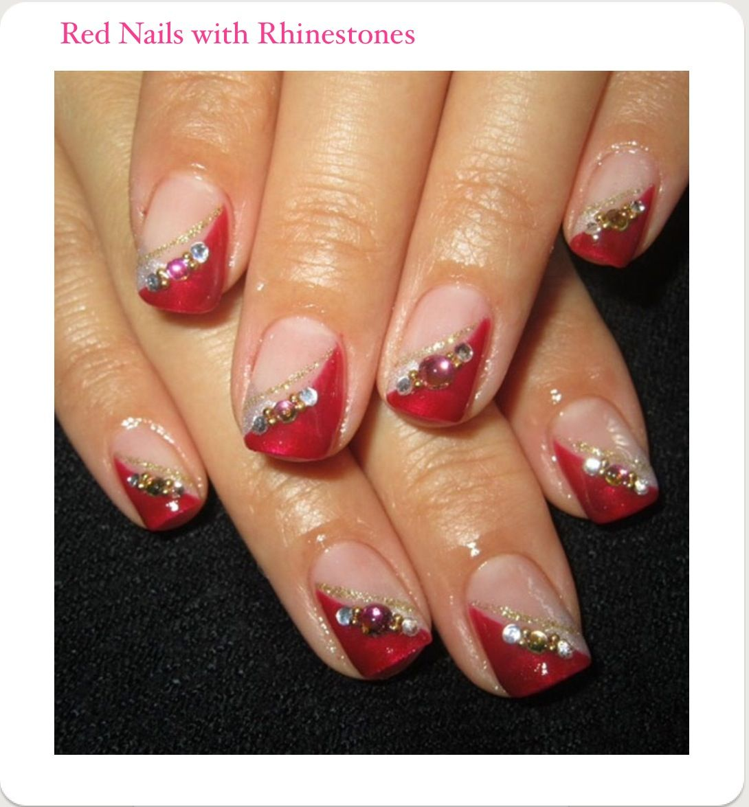 Pin by joslyn p on cool nails pinterest red diagonal french nails by cutenaildesigns nail art gallery prinsesfo Gallery