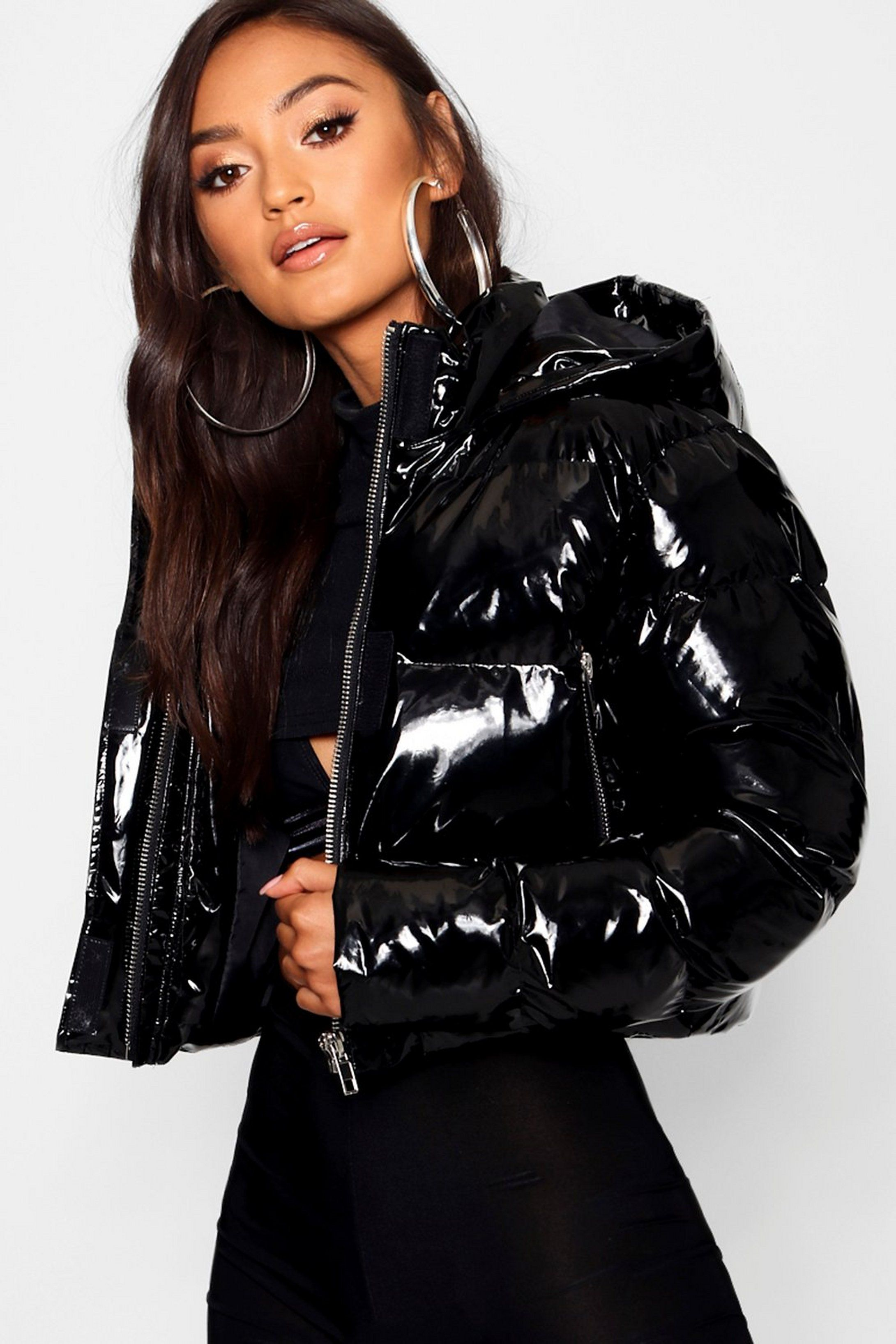 Petite Hooded Crop High Shine Coat Boohoo Uk In 2020 Bubble Coat Shiny Jacket Bubble Jacket Outfit