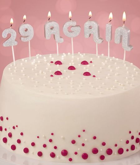 Try these 29 Again candles from Cake Mate for a cute and funny