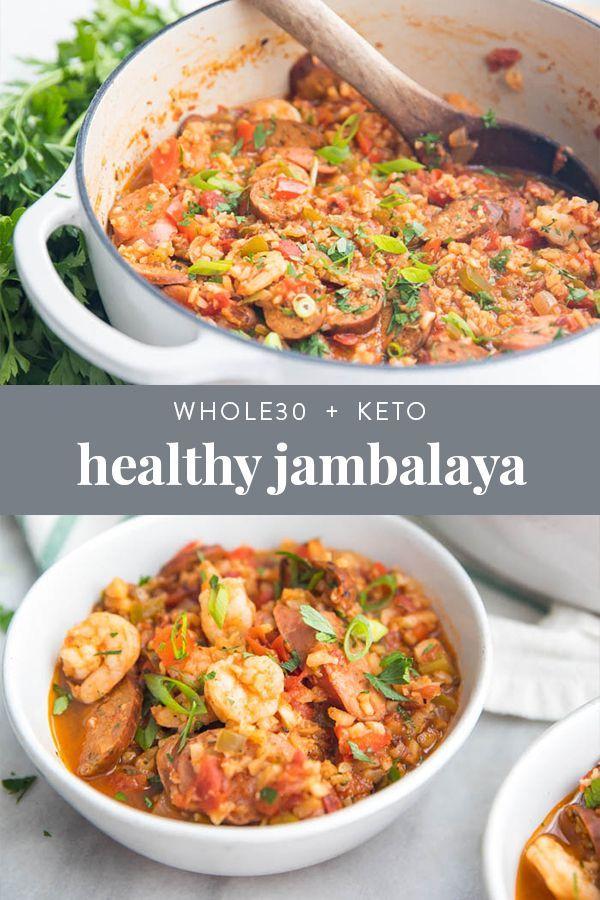 Healthy Jambalaya with Sausage & Shrimp (Whole30, Low Carb, Paleo)