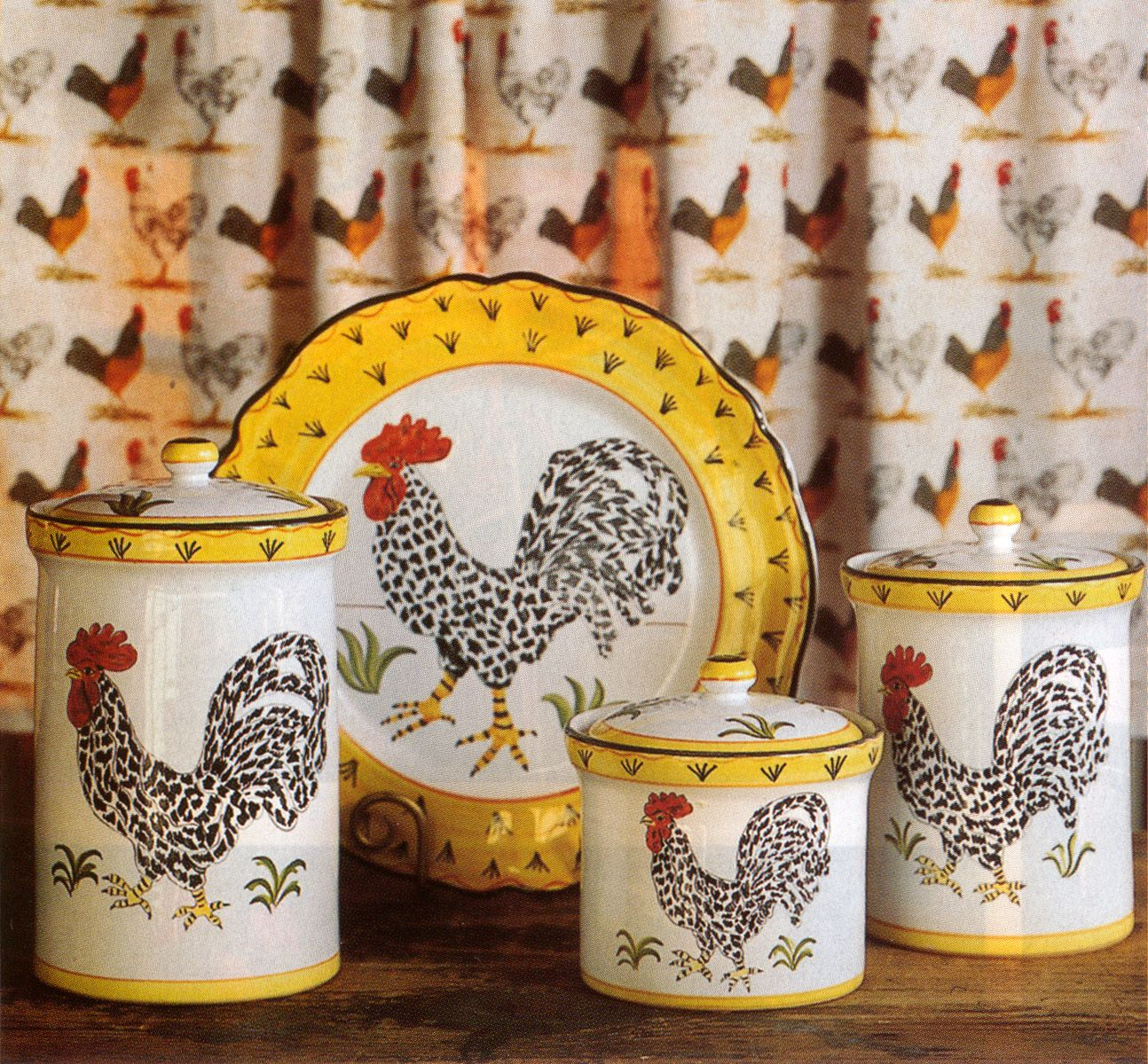 Plates Kitchen: Rooster Canisters & Plate, Made In Italy I Would Like To
